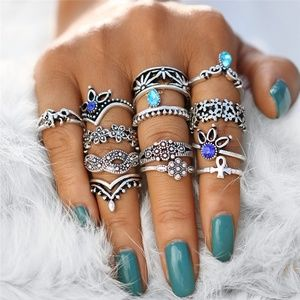 Jewelry - 13 PCS/Set Bohemian Flower Stackable Ring Set